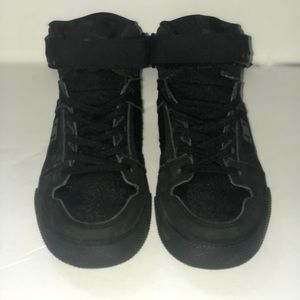 Boys all black high top DC's